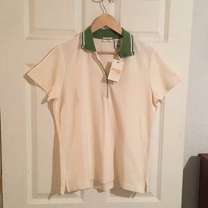 IZOD Women's Golf Pullover Cream Shirt. Sz L. NWT.